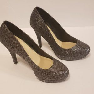 Le Chateau High Heels Shoes Sparkly Silver Women 7
